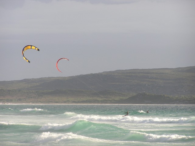 Kite surfers, Western Cape, South Africa. 2005