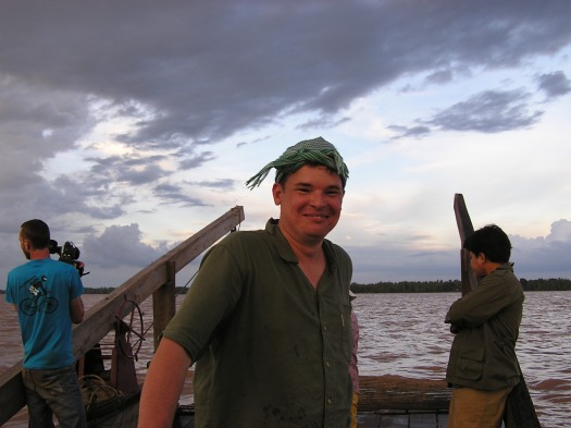 Me on Mekong River, Cambodia near Kratie, 2006.