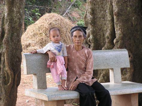 Vietnamese grandmother and grandchild near Hanoi. 2006