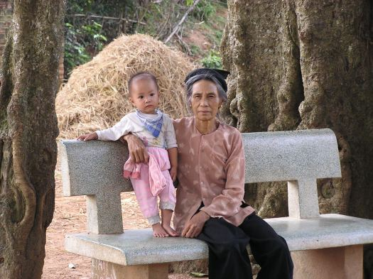 Vietnamese grandmother and grandchild near Hanoi. 2006