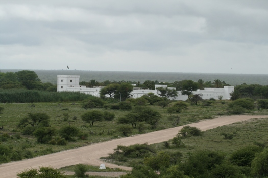 Reconstructed 1904 German fort at Namutoni, Etosha National Park, Namibia. As seen from helicopter