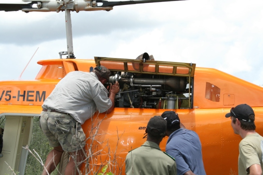 Impromptu helicopter repairs in the Namibian bush during rhino capture operation