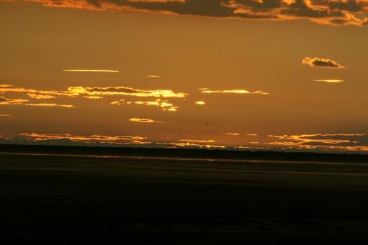Sunset over Etosha Pan, Namibia.