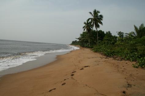 Atlantic Ocean beach near Kribi, Cameroon.