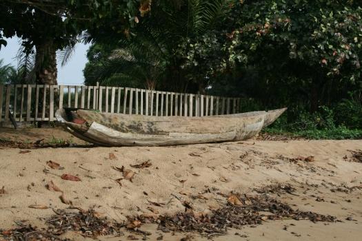Dugout fishing canoe near Kribi, Cameroon.