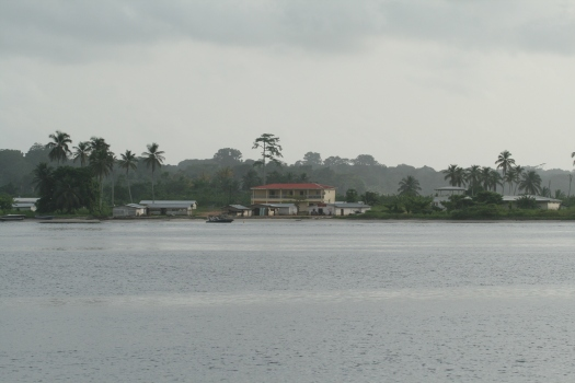 Equatorial Guinea viewed from Cameroon bank of Campo River.