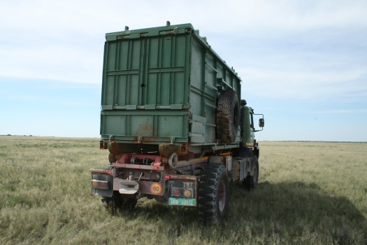 Rhino crate on relocation truck, Namibia.